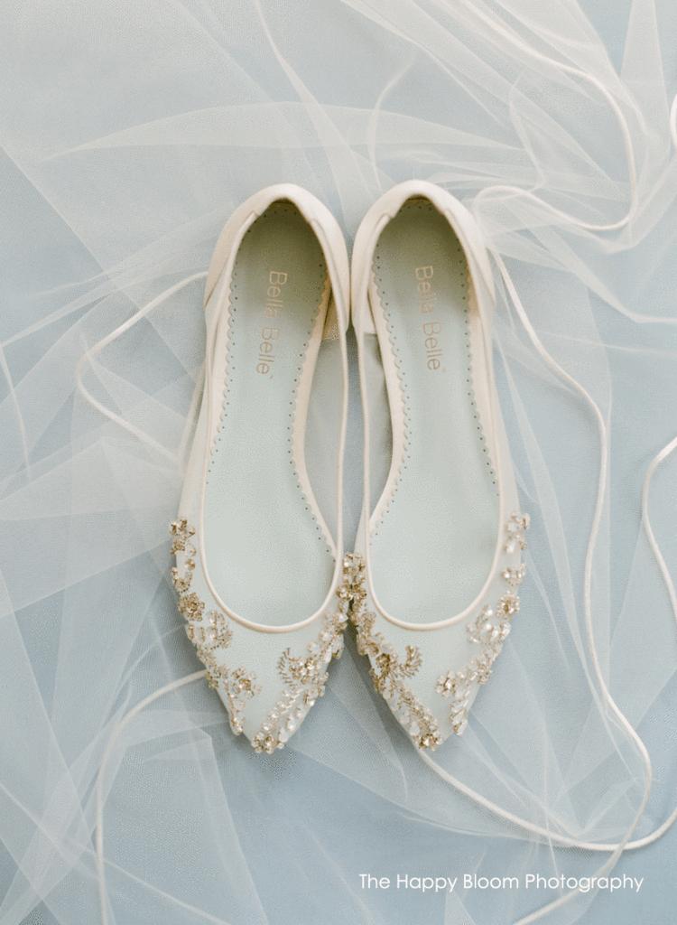 1791da21970 Crystal Embellished Ivory Wedding Flats in 2019 | w e d d i n g ...