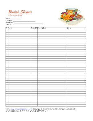 cfa6aefeca26 Keep track of bridal shower gifts with this pretty teacup bridal shower gift  recorder bridal shower gift record sheet.
