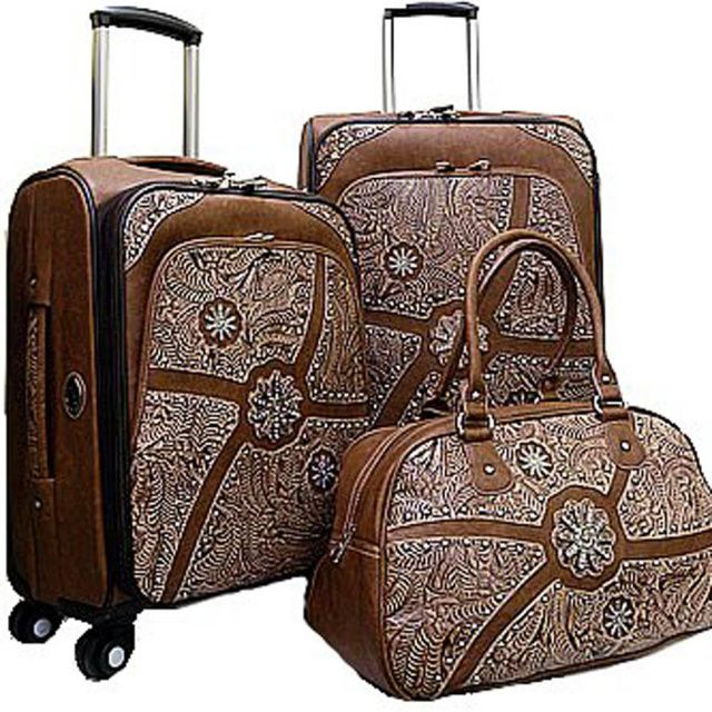 Turquoise Three Piece Cross Luggage Set | stuff | Pinterest ...