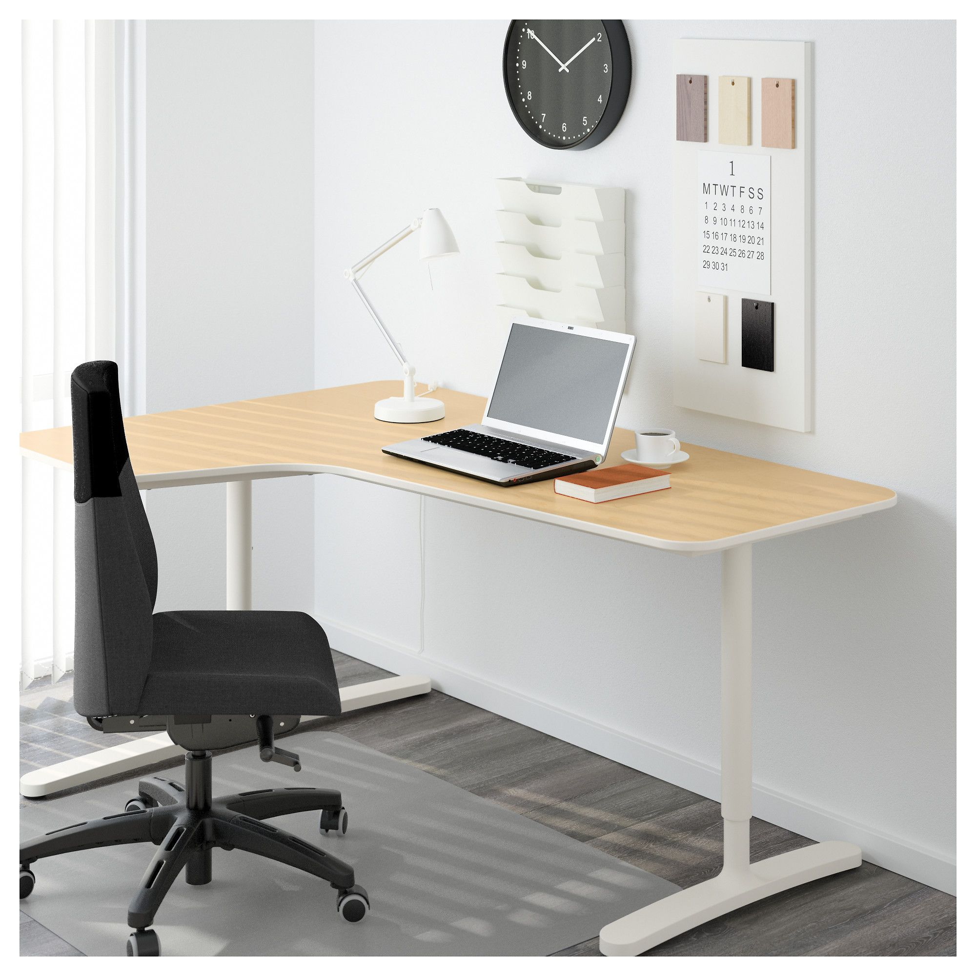 corner desk chair zero gravity office ikea bekant left birch veneer white products