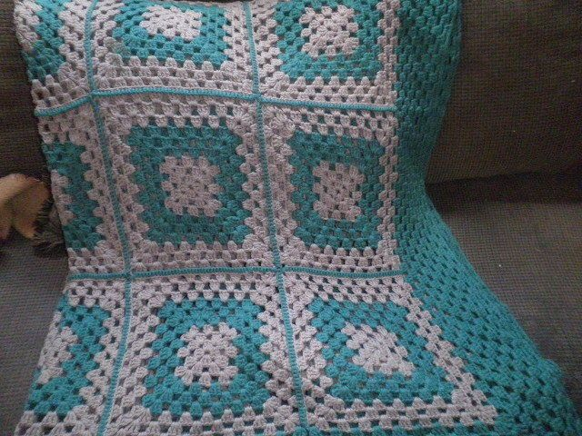 "Afghan - Granny Square Hand Crocheted 76""x86"" Estate Sale Item #Handmade"