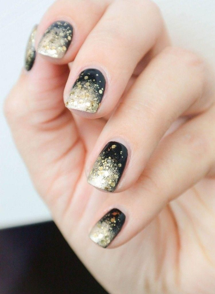 Ombre Nails Anleitung Party Nageldesign Schwarz Gold Nageldesign