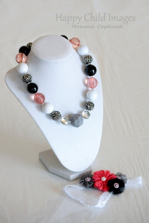 Chunky Glamorous Girl's Set via Etsy. Beaded necklace