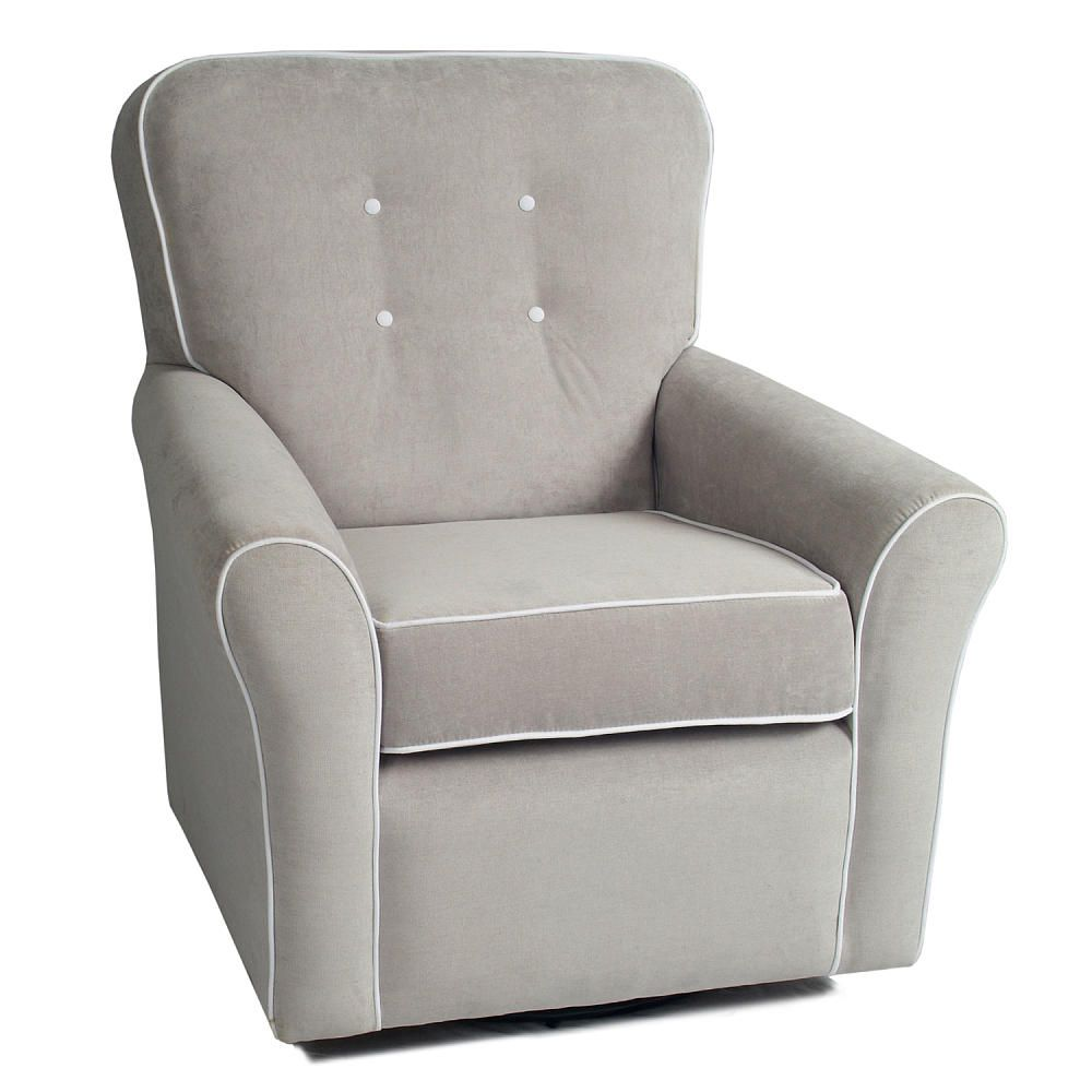 Morgan Nursery Swivel Glider   Crushed Silver Fabric With White Contrast  Piping   Little Castle Furniture