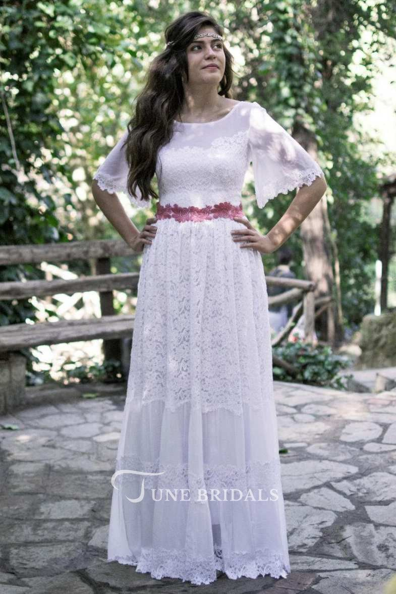 Bateau bellsleeve lace full wedding dress weddings pinterest