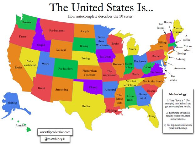 Here's how Google auto-complete describes all 50 states ... on map of states that are bankrupt, map of pennsylvania, map of guam, map of africa, labeled map of 50 states, map of california, map of us with states, map of southern states, map of south dakota, printable map of 50 states, map of new york state, map of indiana, map games pibmug 50 states, map of texas, alphabetical list 50 states, of the 50 states, blank map of states, map of all countries, map of the states, map of eastern states,