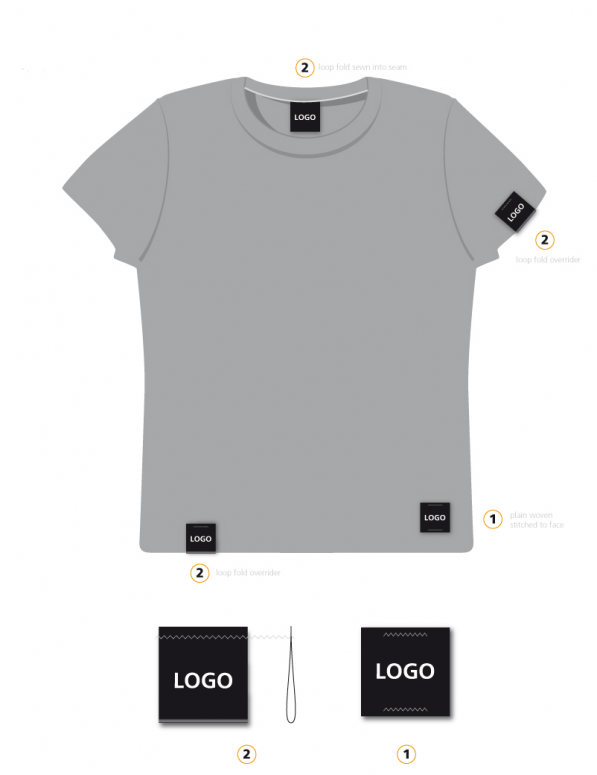 42e40a6018e1 Woven label placement guide for branding mens t-shirt garment.