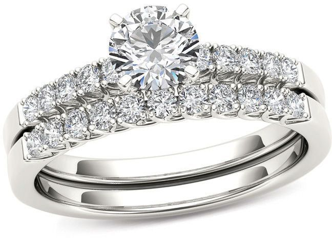 1 Ct T W Diamond Bridal Set In 14k White Gold Zales Diamond Bridal Sets Diamond Wedding Bands Bridal Sets