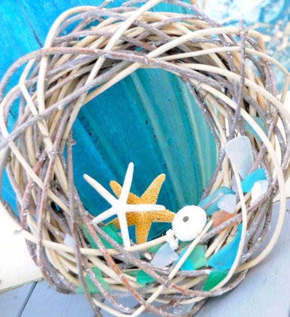 Sea Glass Wreath, Spring Wreath, Holiday Wreath, Beach Wreath, Beach Decor, Summer Wreath on Etsy, $75.00