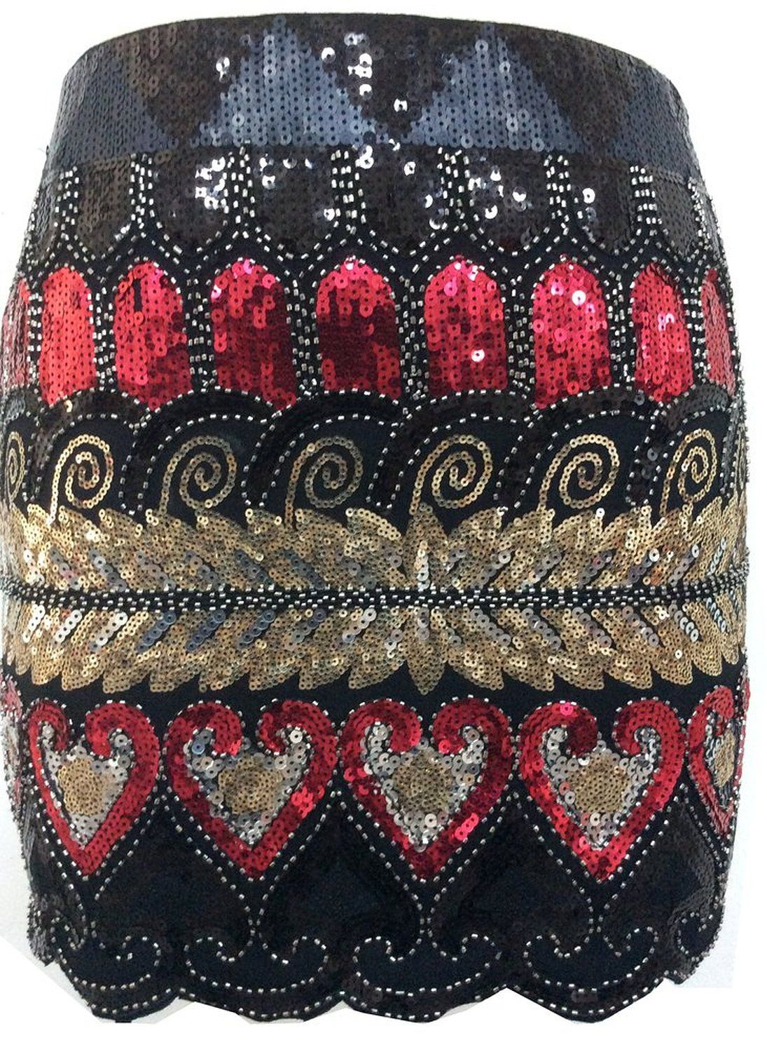 7b42ee98 Izacu Flocc® Women 1920s Gatsby Sequin Art Deco Scalloped Hem Inspired  Flapper Mini Skirt: Amazon.co.uk: Clothing