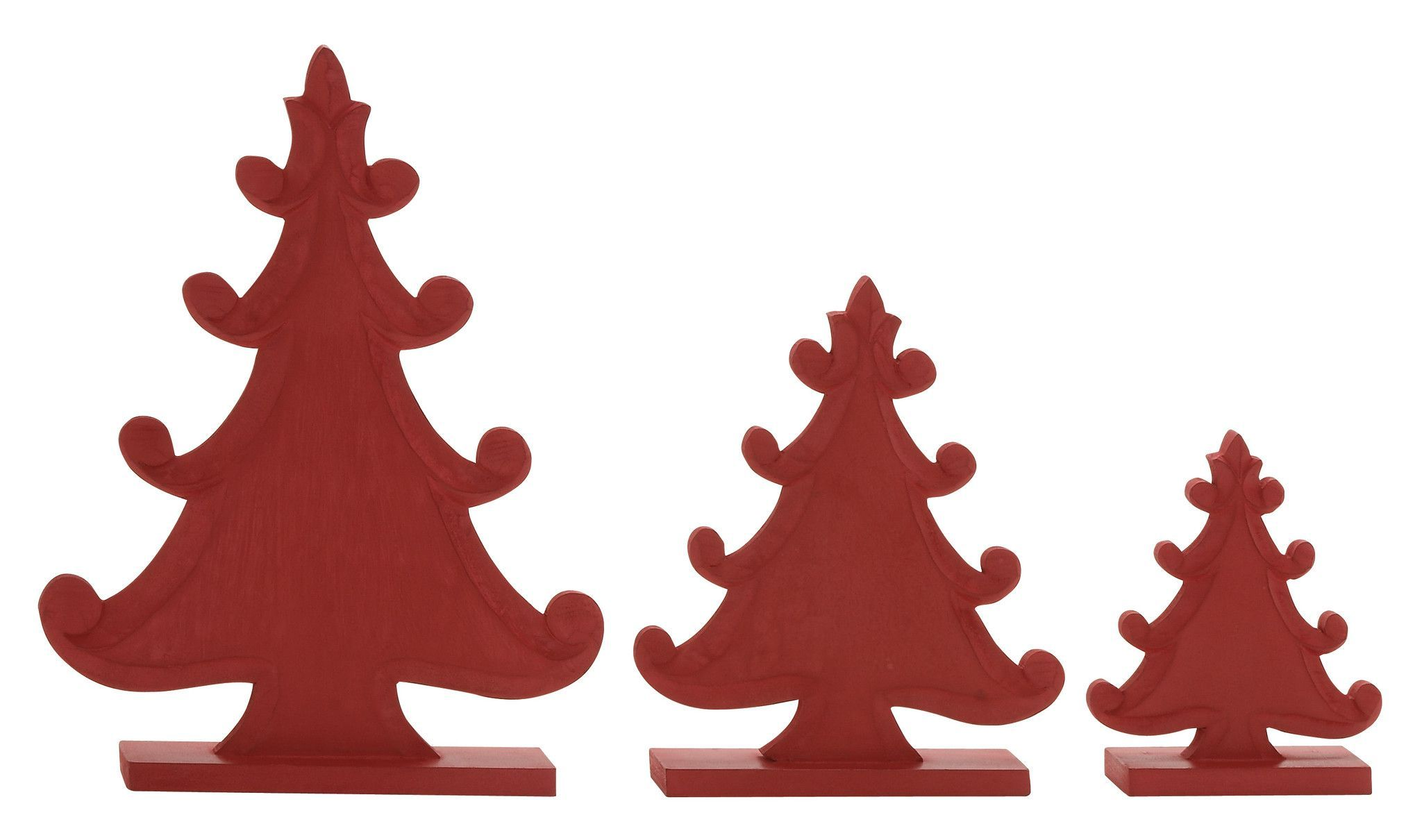 "Red Wood Christmas Tree Set Of 3 9"", 12"", 17""H"