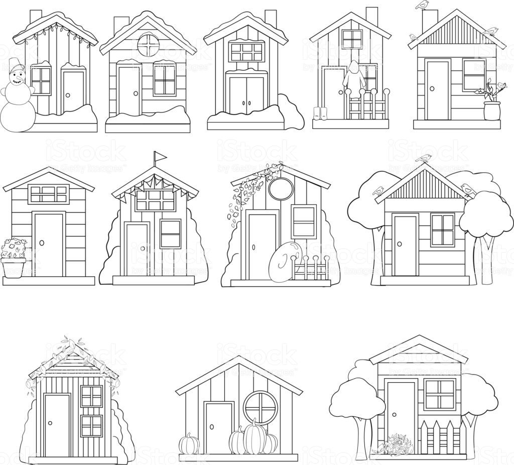 Set Of Houses In Vector Cute Cartoon Design Perfect For Card Calendar Design Royalty Free Set Of Houses In Vect Cartoon Design Calendar Design Cartoon House