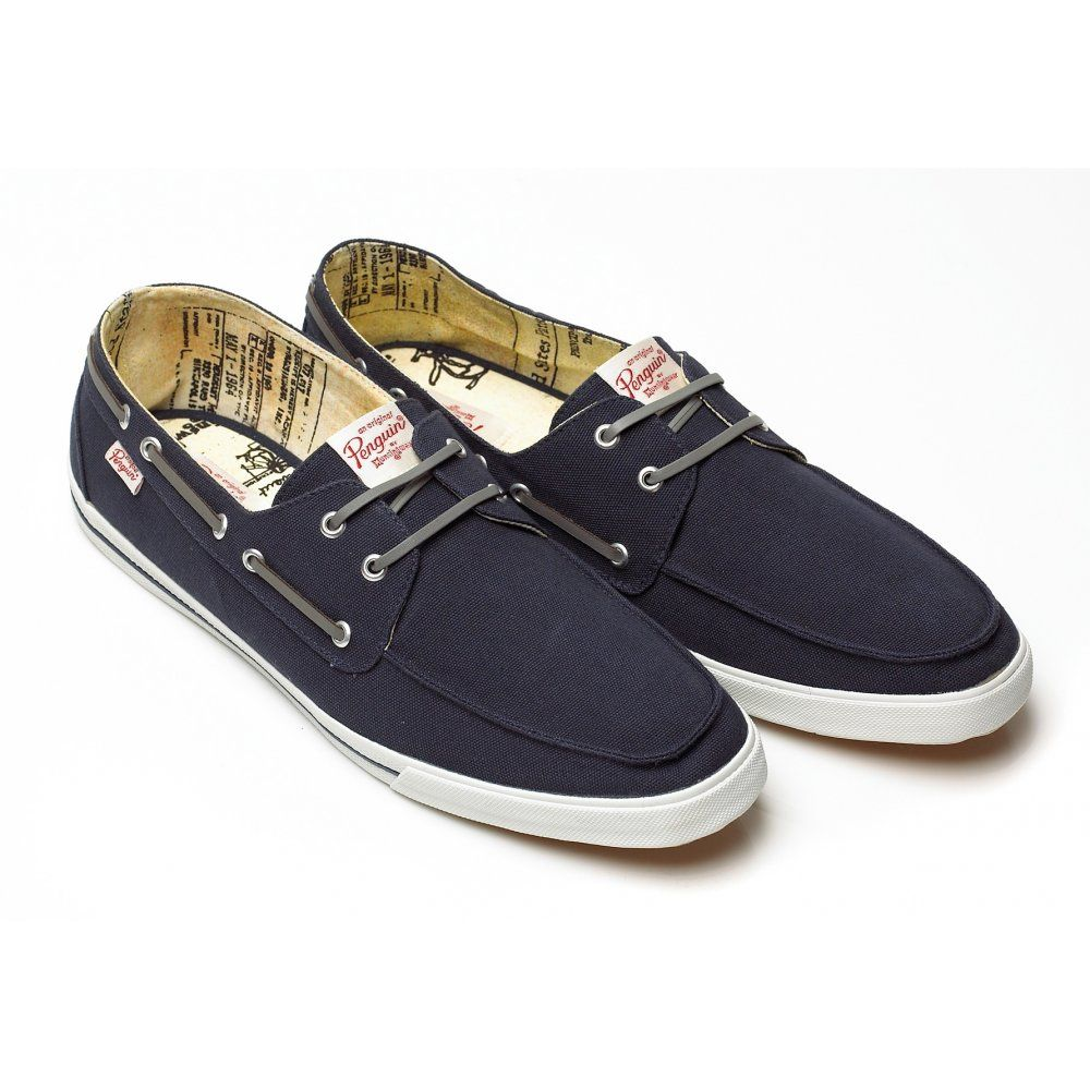 Original Penguin Boat Shoe, Navy Blue Canvas Trainer 1DSA0196