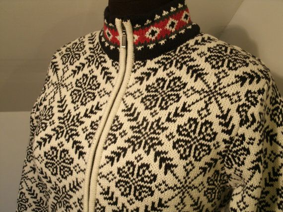 LL Bean Cotton Nordic Sweater Jacket Vintage by TheProfessorsAttic ...