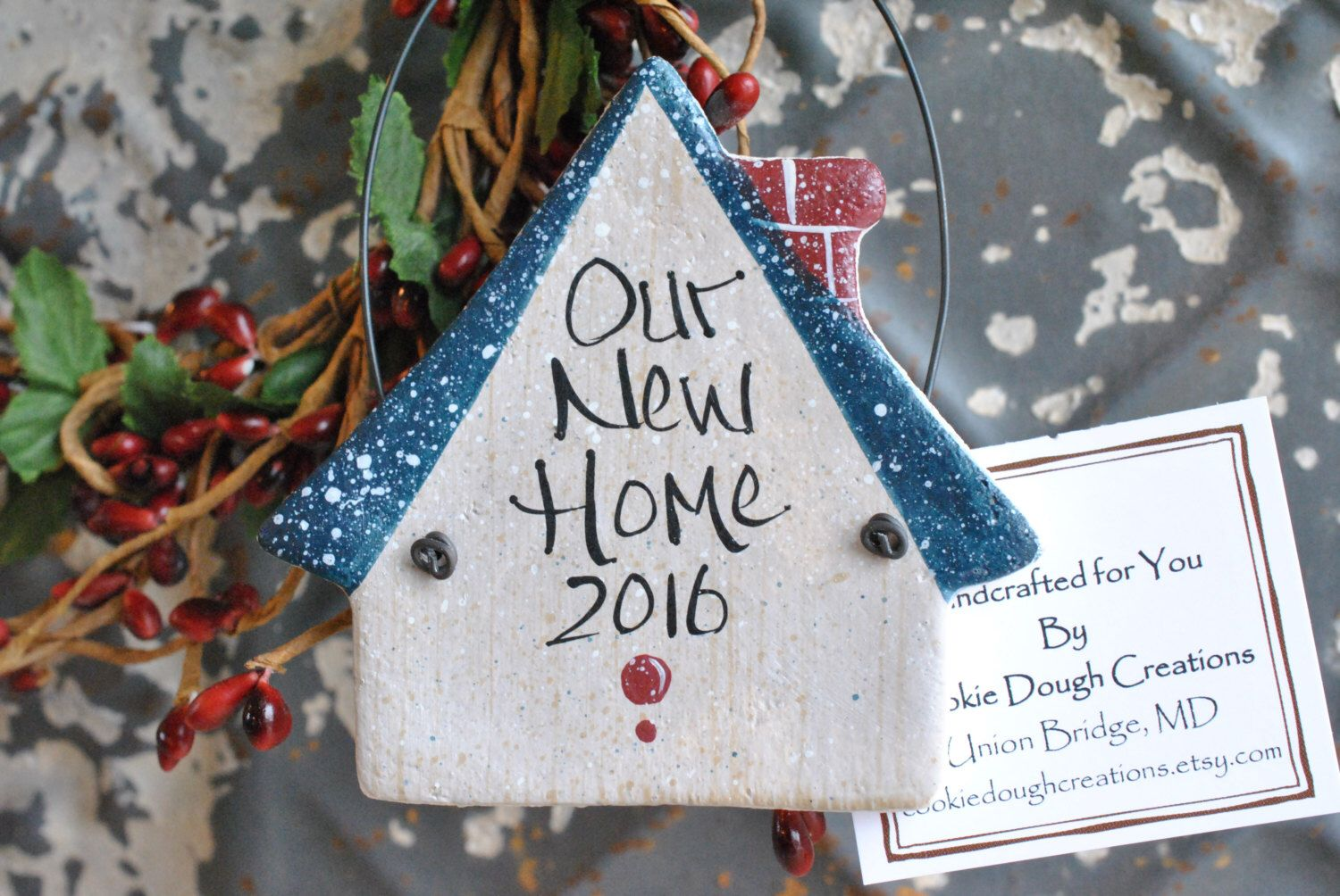 First Christmas New Home Salt Dough Ornament Housewarming Gift by cookiedoughcreations on Etsy https://www.etsy.com/listing/269522660/first-christmas-new-home-salt-dough