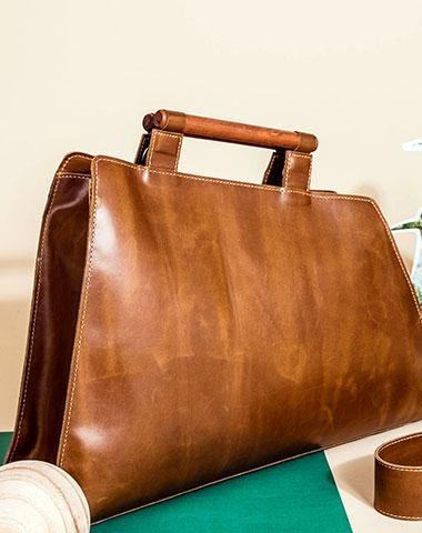Genuine Leather Handmade Wooden Handbag Bag Shoulder Purse For Women