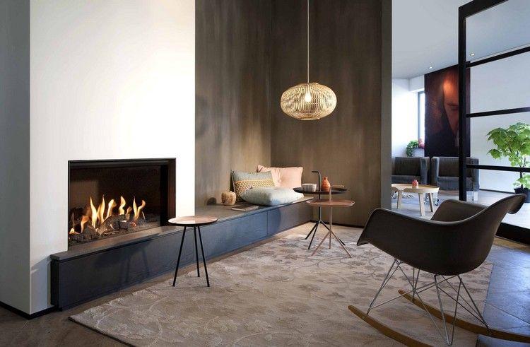 moderner-kamin-gas-geschlossen-wohnzimmer-sitzbank-FAIRO-ECO-LINE-80 - moderne luxus wohnzimmer