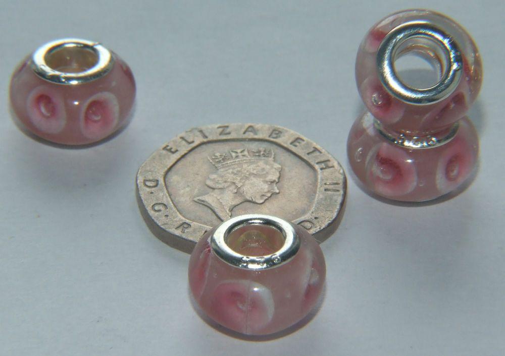 13mm Pink Spot Bead for European Bracelet - 925 Grommets - Pack of 4 - CBM13