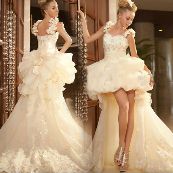 HK1390F Brautkleider 2015 New Lace Hi-Lo Wedding Dresses With Train ...