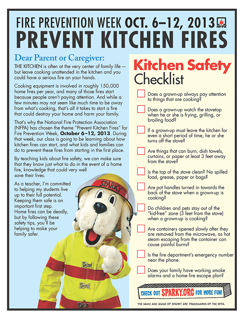 Kitchen safety checklist from nfpa fire prevention for 6 kitchen safety basics