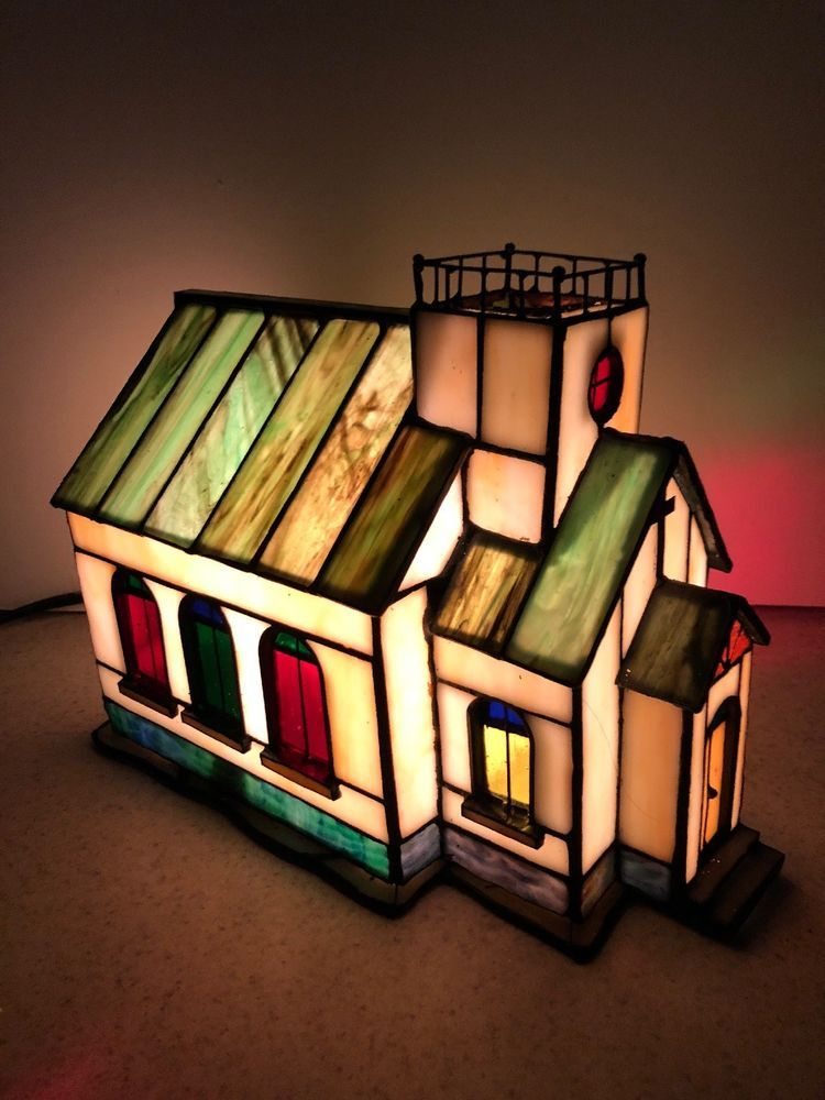 HOLIDAY STAINED GLASS TOWN CHURCH HOUSE LIGHT LAMP Christmas $3995