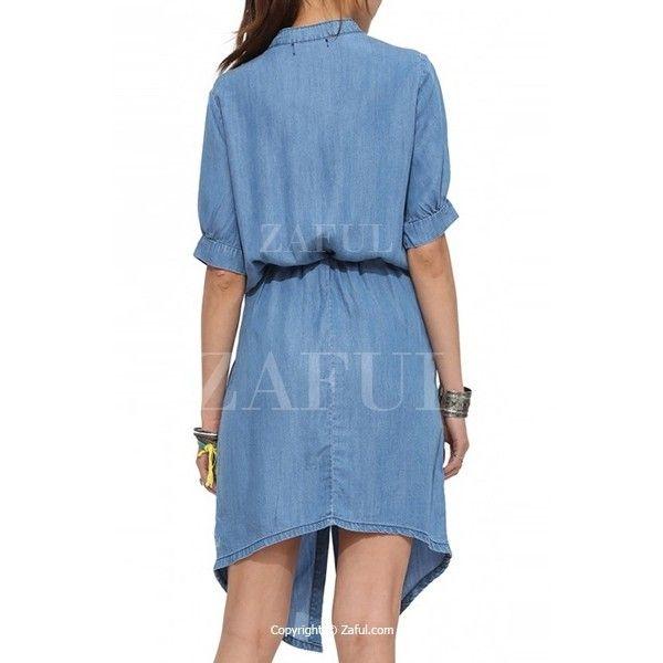 Blue Denim Stand Neck Half Sleeve Dress ($27) ❤ liked on Polyvore featuring dresses, half sleeve dress, denim dress, elbow sleeve dress, blue denim dress and blue dress