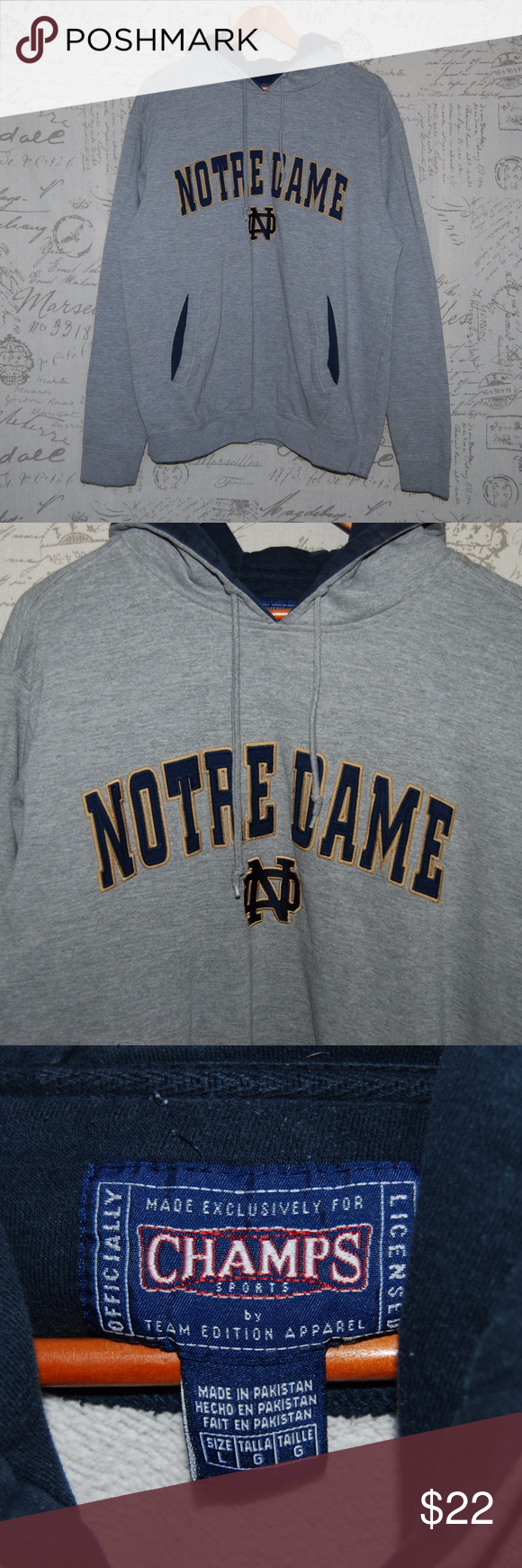 Notre Dame Men's Gray Hooded Sweater Large | Hooded sweater, Notre ...
