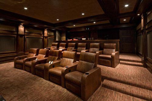 dark media room. Wide Theater Room. Dark Leather, Wood, Nice Carpet. River Bend Ranch - Traditional Media Room Salt Lake City Phillips Development T