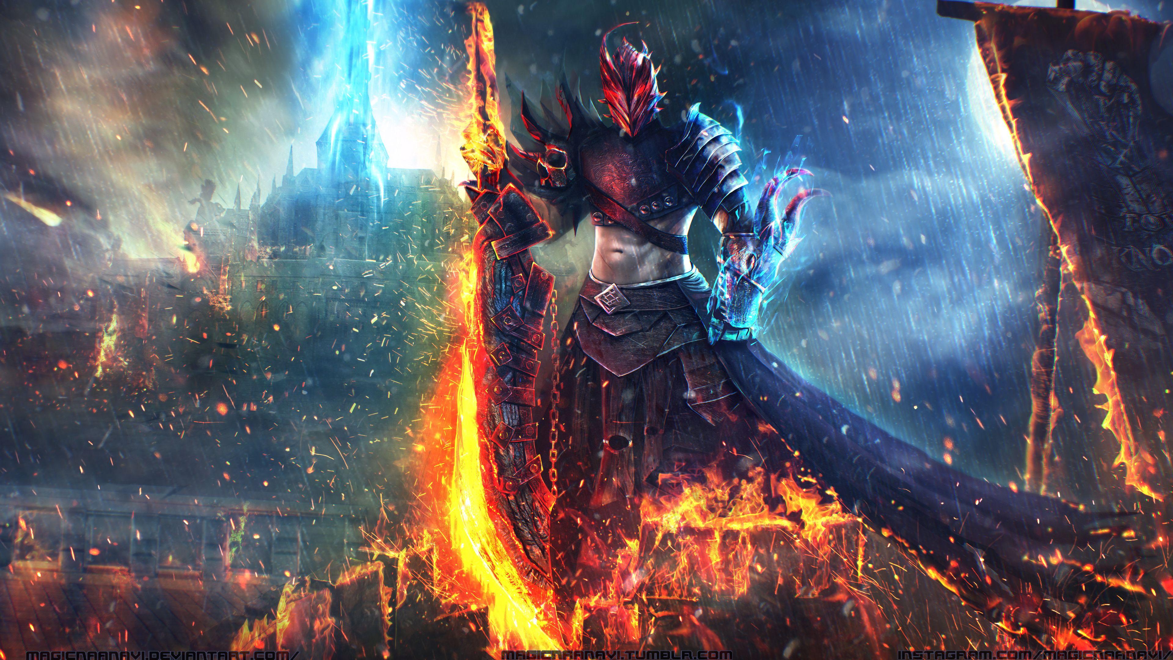 Sword Warrior 4k Warriors Wallpaper Fire Warrior Guild Wars