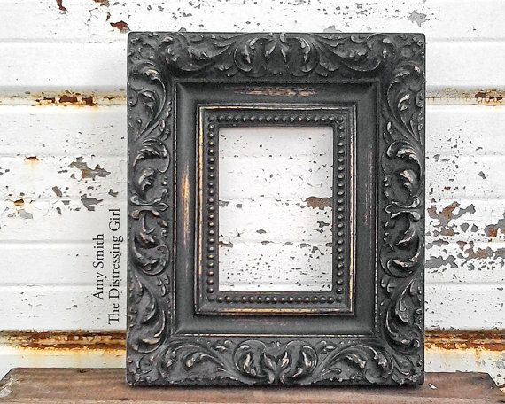 Thick Black And Gold Frame Ornate Chunky 5 By 7 Frame Gold Frame Frame Vintage Picture Frames