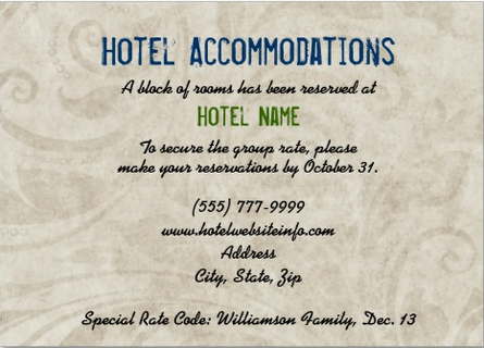 Hotel Block Wording For Enclosure Card Wedding Reception