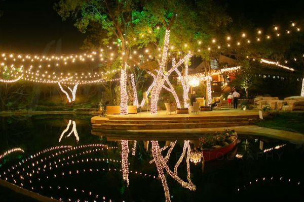 Pictures holiday string lights dallas restaurant patio and dallas landscape lighting installed these string lights party lighting over a pond at a rockwall aloadofball Images