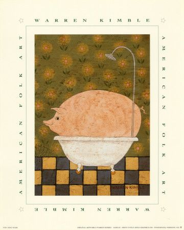 Wall Decor For Bathroom At Art Com Pig Art Foodie Art American Folk Art
