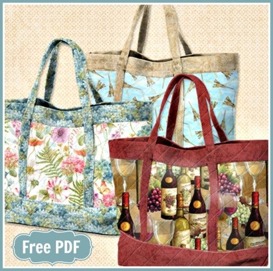 Quilting Purse Patterns Free : Wilmington s Basic Quilted Tote with Pockets Bag, Free pattern and Tote bag
