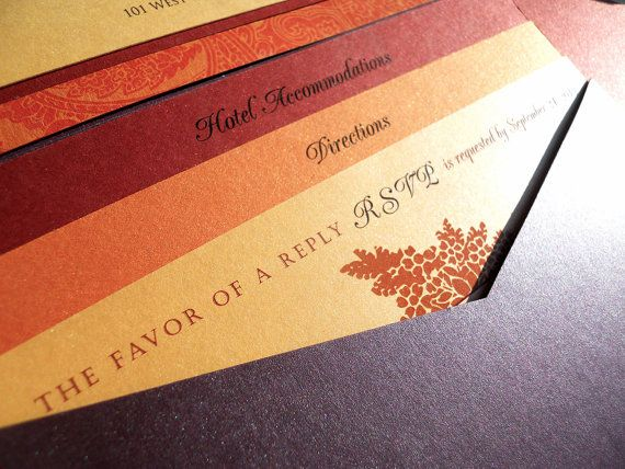 Pocket Fold Wedding Invitation Jewel Tones Shown In Deep Purple Fall Oranges And Reds 5x7