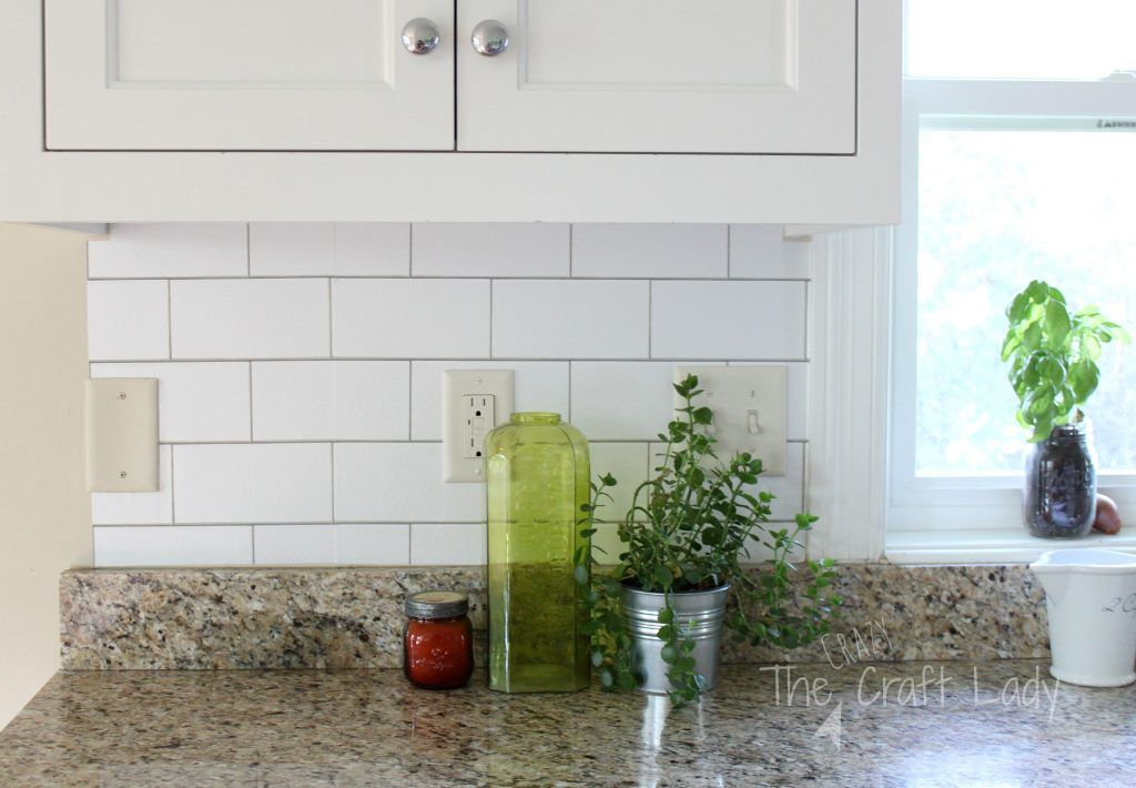 White Subway Tile Temporary Backsplash