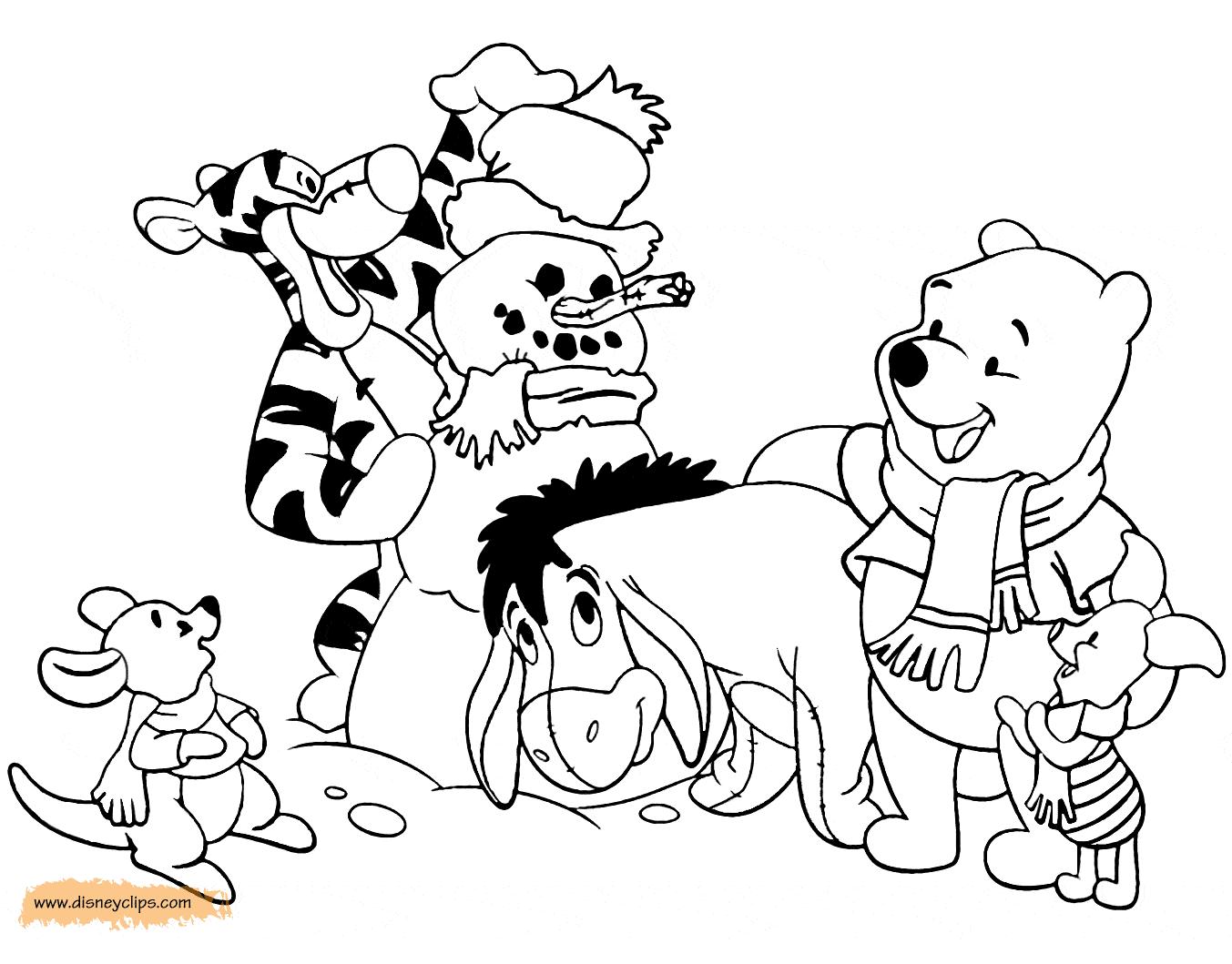 Coloring page of Winnie the Pooh, Tigger, Piglet, Eeyore