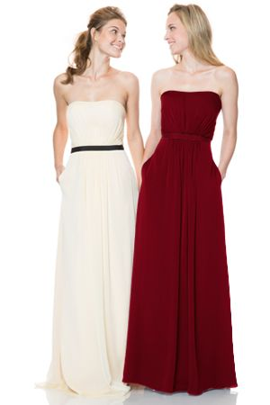 Bari Jay Bridesmaids | Bridesmaid Dresses - Style 1506 - Strapless natural waist gown with contrast waistband and pockets. Two tone or solid. #Bridesmaids #BridesmaidsDress #WeddingPlanning