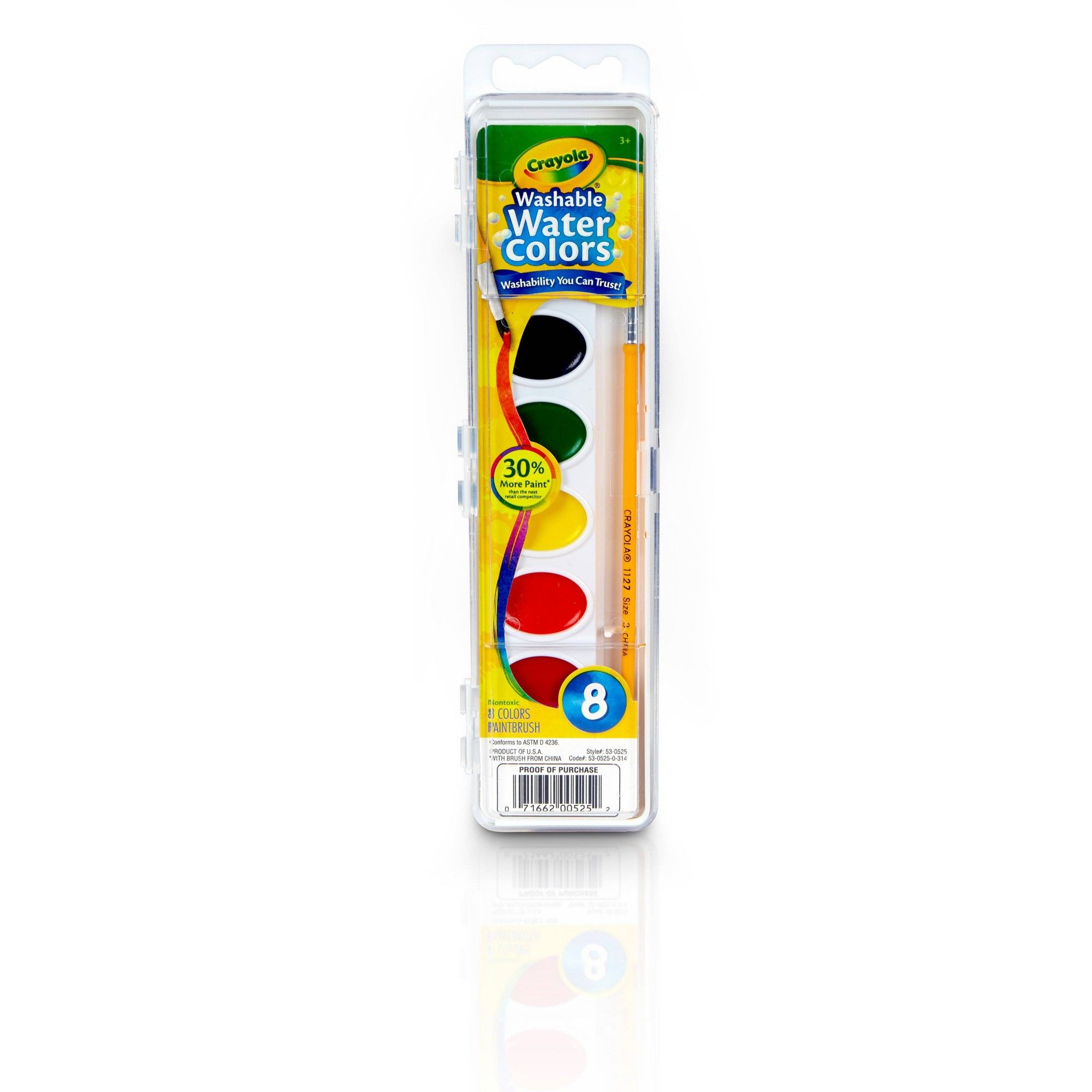 Crayola Watercolor Paints With Brush Washable 8ct Painting For