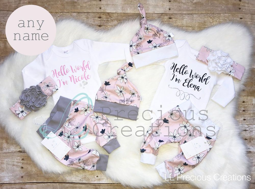 b5a80771bd32 Organic Twins Coming Home Outfit Newborn Outfit Baby Girl Outfits Twin Girls  Personalized Twin Outfits Pink