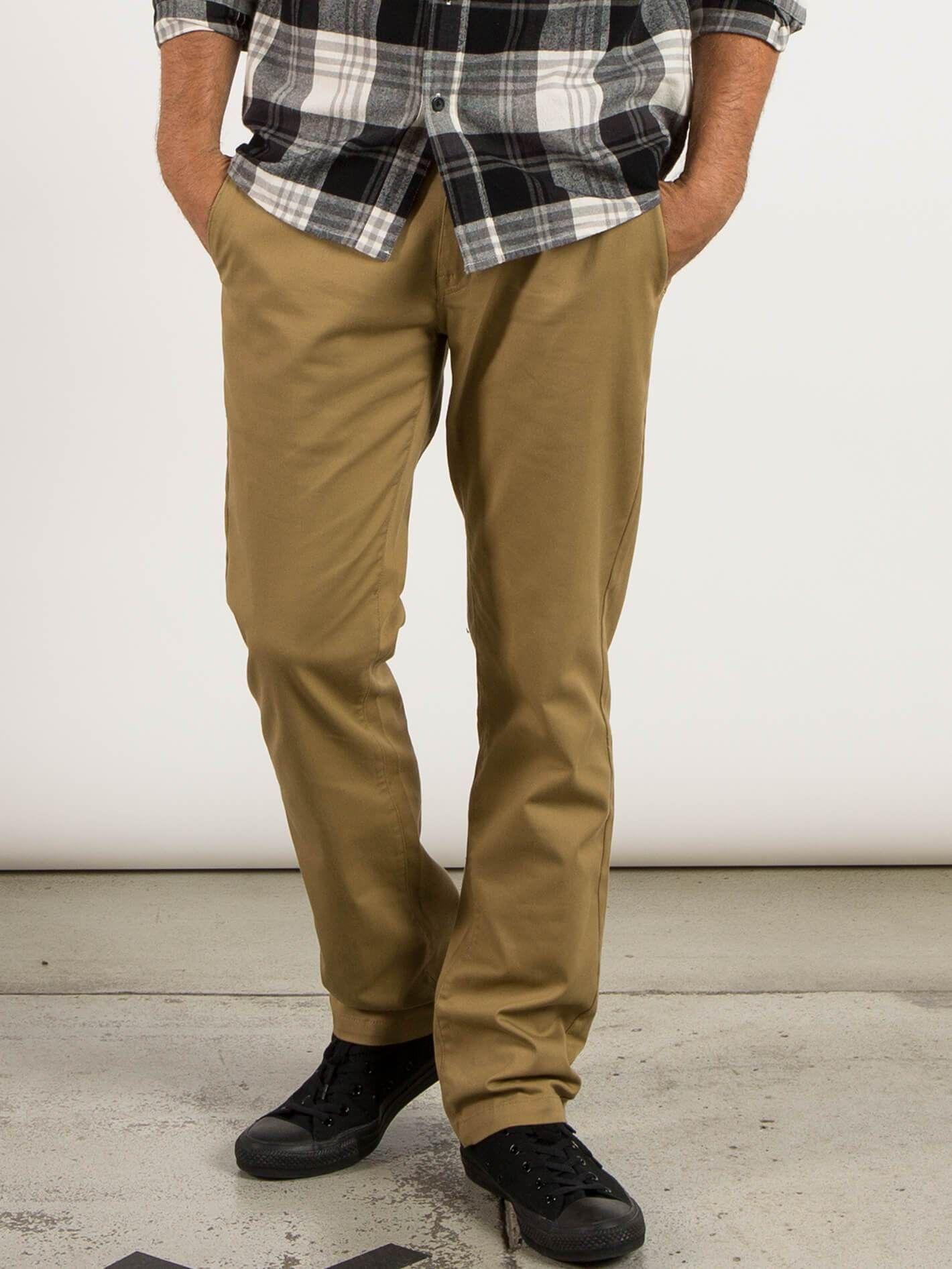 Volcom Men/'s Frickin Modern Stretch Chino Pants Dk Khaki Brown Clothing Apparel