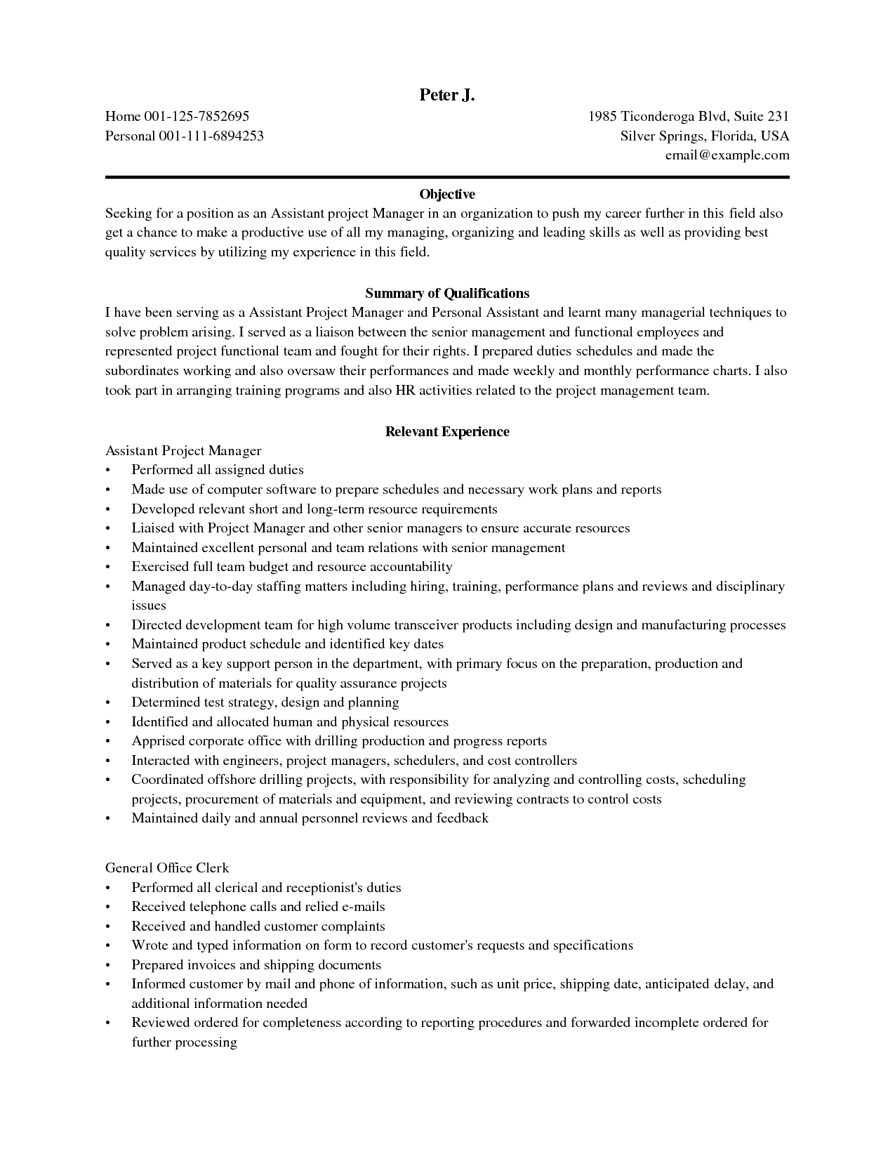 career objective examples information technology printable resume job large size - Resume Objective For Project Manager