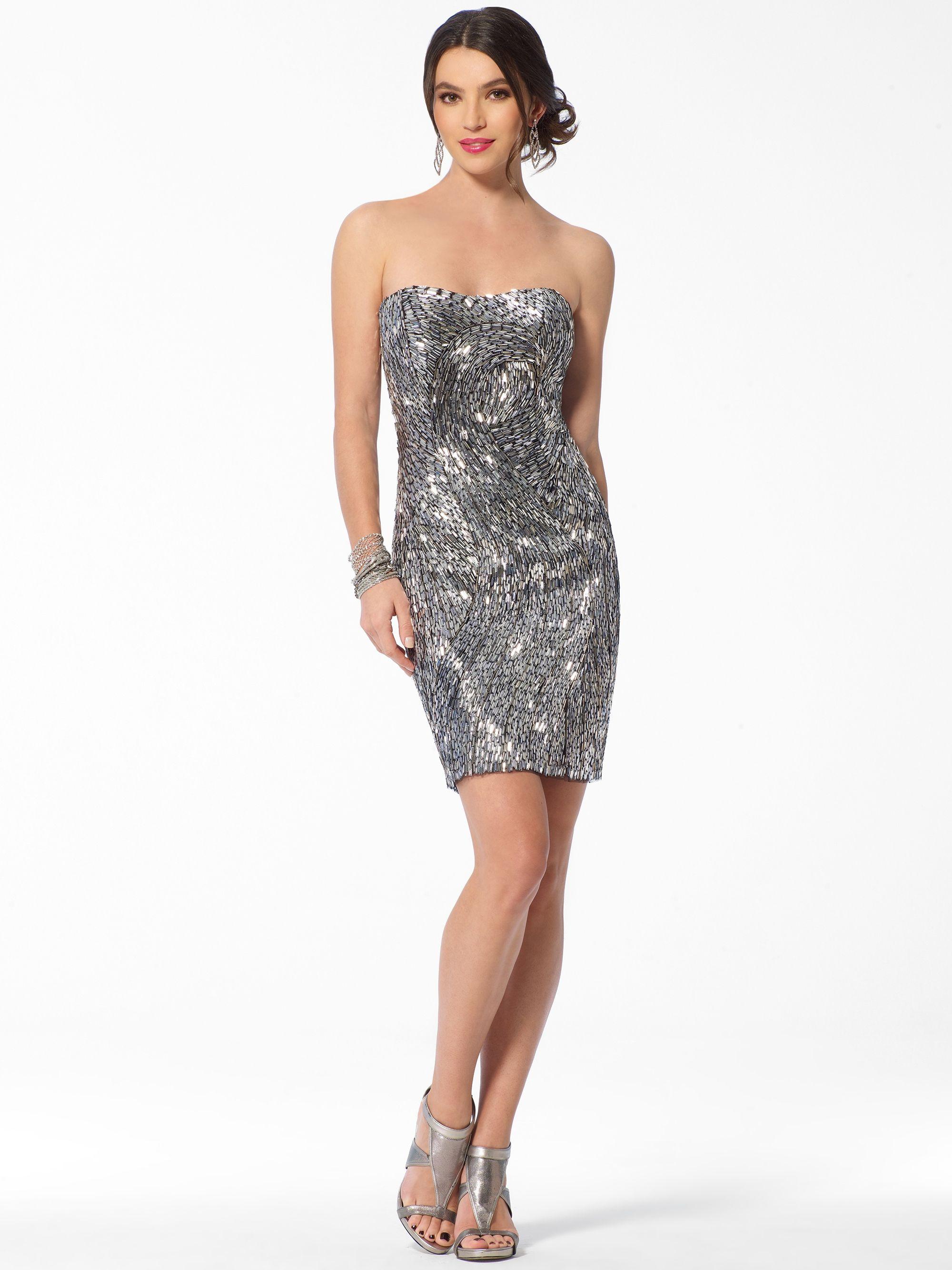 Stunning Sparkle Cocktail Dress | Silver Strapless Sparkle Beaded ...