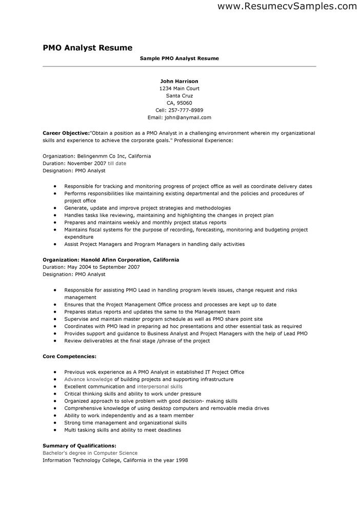 pmo analyst resume - Onwebioinnovate - Pmo Analyst Sample Resume