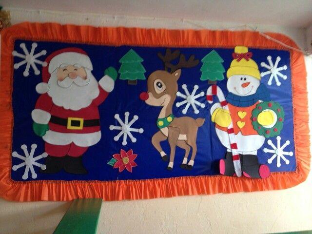Mural del mes de diciembre hecho por mi amiguita - Murales decorativos de navidad ...