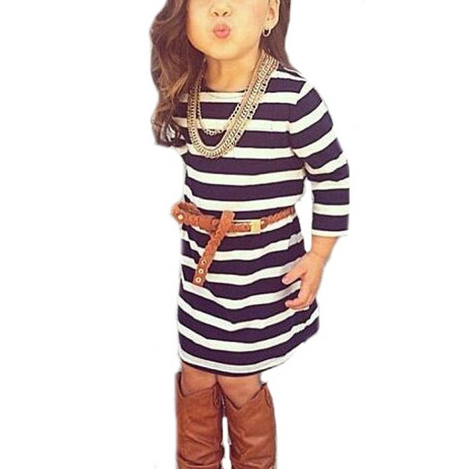 2pcs Baby Girls Long Sleeve Striped Dress Kids Casual Clothes Outfits 3-4T Striped
