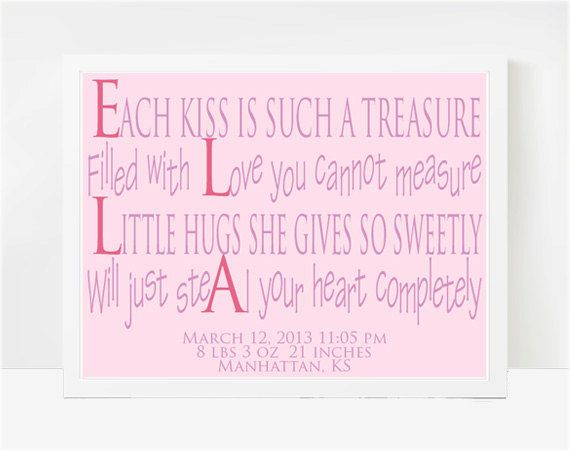 Newborn baby girl gift personalized name for nursery unique baby 8x10 print little girl quotes baby poems for girls nursery wall art ella negle Choice Image