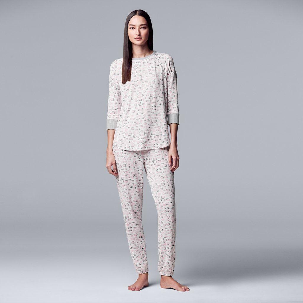 f8146cdf56 Women s Simply Vera Vera Wang Printed Sleep Top   Banded Bottom Pajama Set