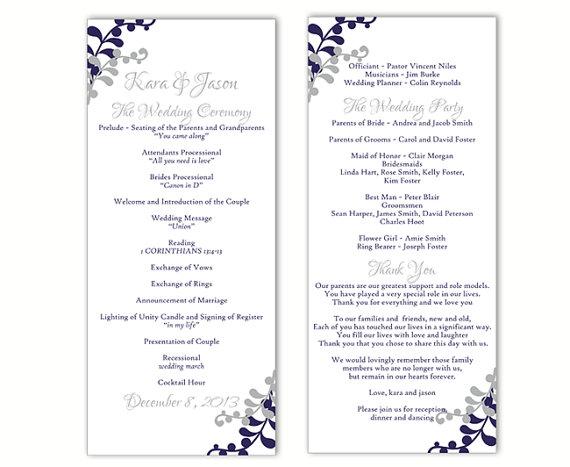 Wedding Program Template DIY Editable Word File Instant Download ...