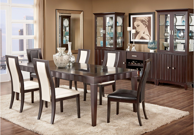 Mondavi Espresso 5 Pc Dining Room W Pearl Chairs Dining Room Sets Dining Room Design Formal Dining Room Sets